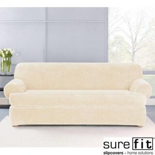 Stretch Plush Cream T-Cushion Sofa Slipcover