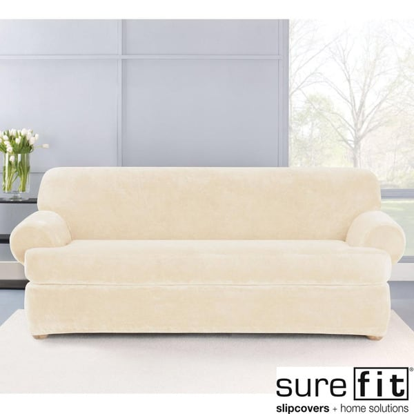 Sure Fit Stretch Plush Cream T-Cushion Sofa Slipcover ...