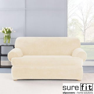Stretch Plush Cream T-cushion Loveseat Slipcover