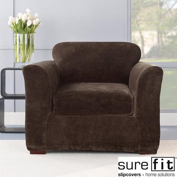 Stretch Plush Chocolate Chair Slipcover