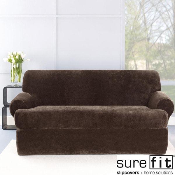 Stretch Plush Chocolate T-Cushion Loveseat Slipcover