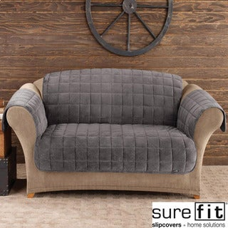 Sure Fit Deluxe Pet Dark Grey Loveseat Cover