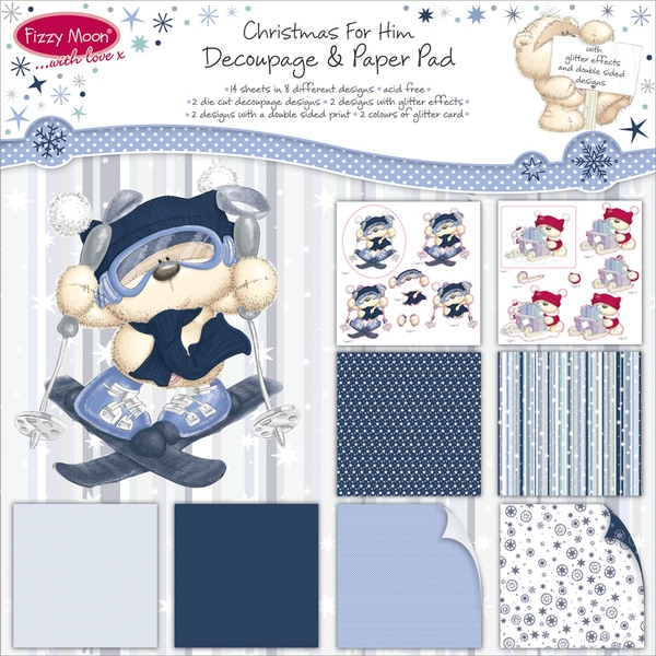 Fizzy Moon Christmas Decoupage Paper Pad-For Him