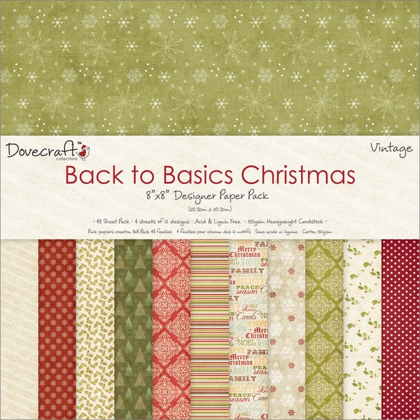 "Back To Basics Christmas Paper Pack 8""X8"" 48 Sheets-Vintage - 12 Designs/4 Each"