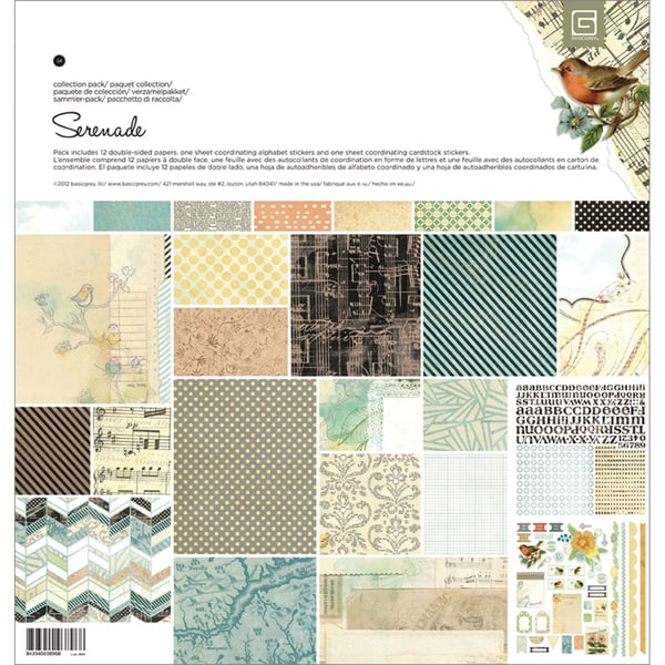 """Serenade Collection Pack 12""""X12""""-1 Alpha & 1 Element Stickers + 12 Papers"""