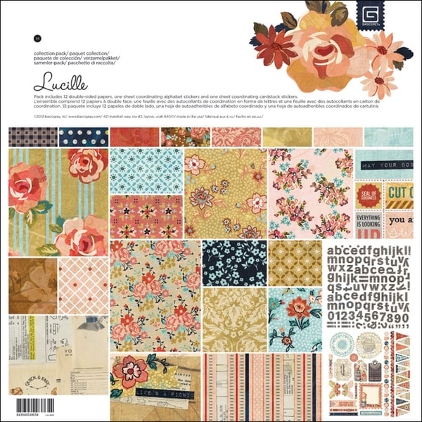 "Lucille Collection Pack 12""X12""-1 Alpha & 1 Element Stickers + 12 Papers"