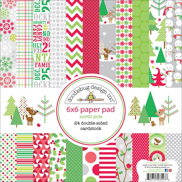 "Christmas Paper Pad 6""X6""-24 Double-Sided Cardstock Sheets"