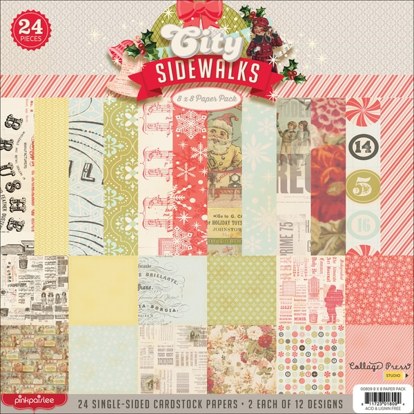 "City Sidewalks Paper Pack 8""X8"" 24/Sheets-12 Designs/2 Each"