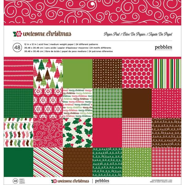 "Pebbles Paper Pad 12""X12"" 48/Sheets-Welcome Christmas, 24 Designs/2ea"