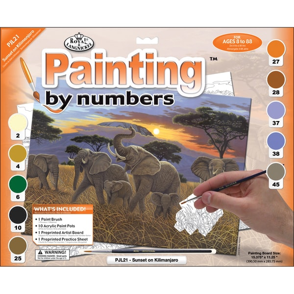 "Junior Large Paint By Number Kit 15-1/4""X11-1/4""-Sunset On Kilimanjaro"