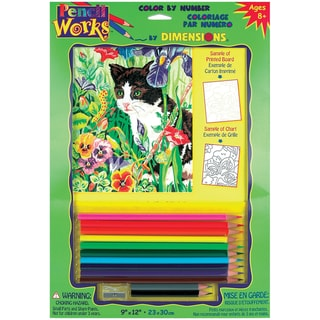 Pencil Works Color By Number Kit -Kitty In Flowers