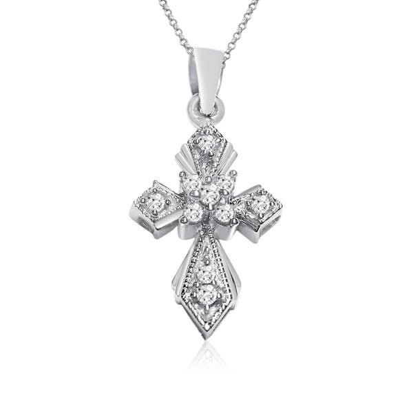 10k White Gold 1/10ct TDW Round Diamond Cross Necklace (I-J, I1-I2)