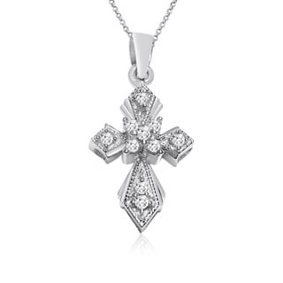10k White Gold 1/10ct TDW Diamond Cross Necklace (I-J, I1-I2)
