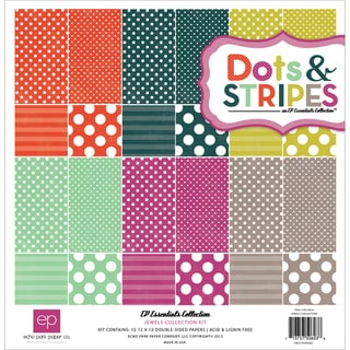 "Dots & Stripes 3 Jewels Collection Kit 12""X12""-12 Double-Sided Cardstock Sheets"