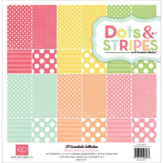 Dots &amp; Stripes 3 Neapolitan Collection Kit 12&quot;X12&quot;-12 Double-Sided Cardstock Sheets