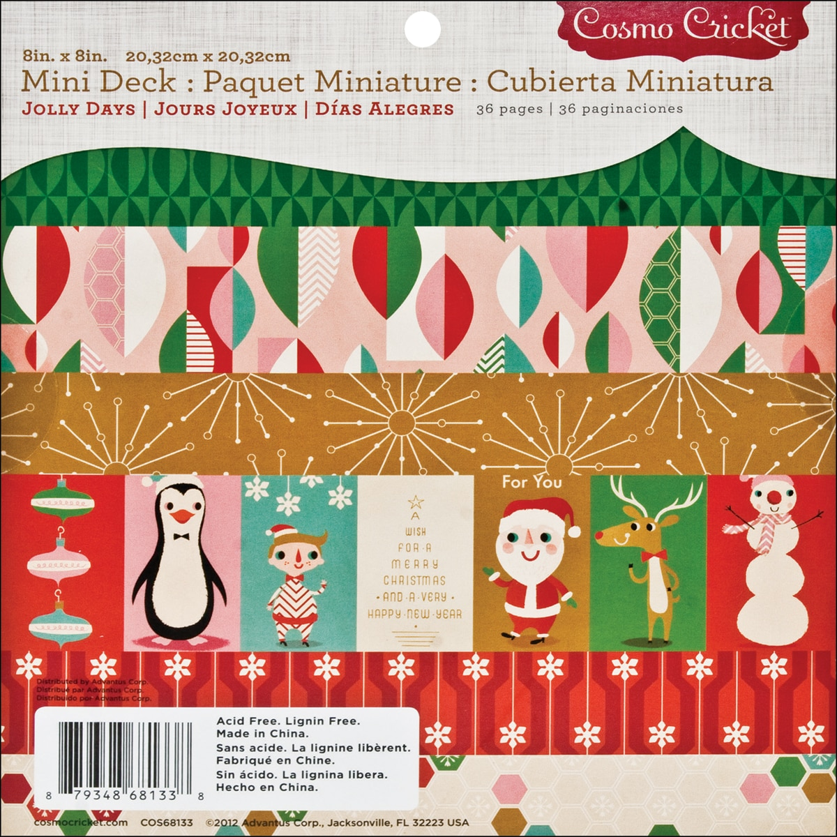 "Cosmo Cricket Jolly Days Mini Deck Paper Pad 8""X8""- at Sears.com"