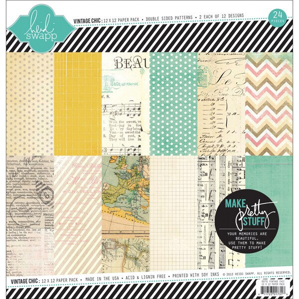 "Vintage Chic Double-Sided Paper Pack 12""X12"" 24 Sheets-12 Designs/2 Each"