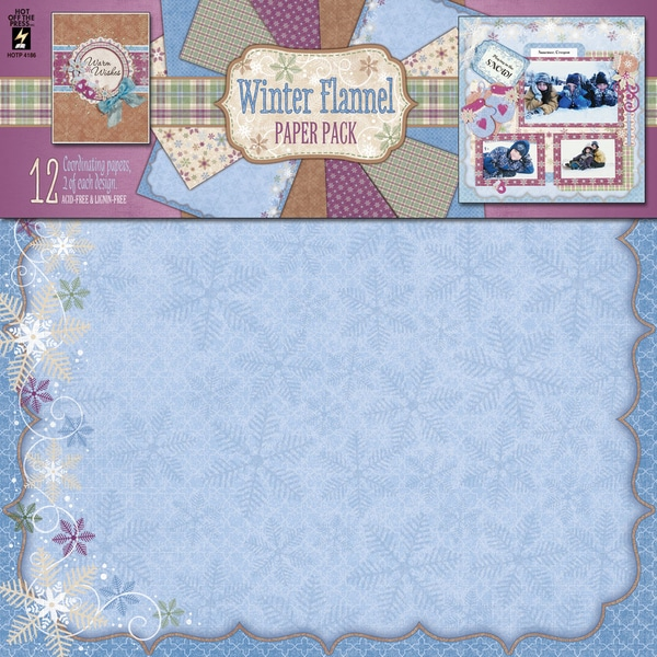 """Hot Off The Press Paper Pack 12""""X12"""" 12/Sheets-Winter Flannel"""