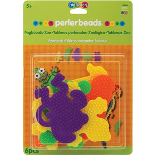 Perler Fun Fusion Bead Pegboards 5/Pkg-Zoo