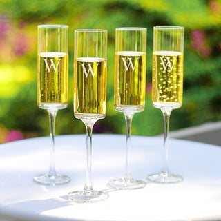 Custom Engraved Contemporary Champagne Flutes (Set of 4)