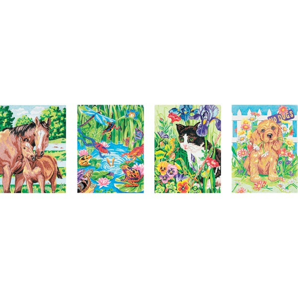 "Pencil Works Color By Number Kit 9""X12"" 4/Pkg-Animal Friends"