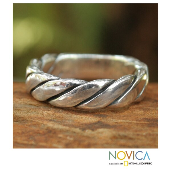 Sterling Silver Men's 'Lives Entwined' Ring (Thailand)