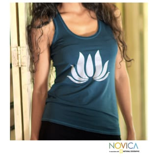 Rayon 'Teal Lotus Harmony' Tank Top (Indonesia)