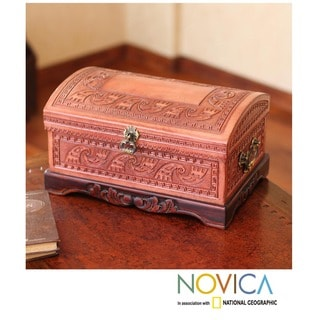 Mohena Wood and Leather 'Inca Sea' Jewelry Box (Peru)