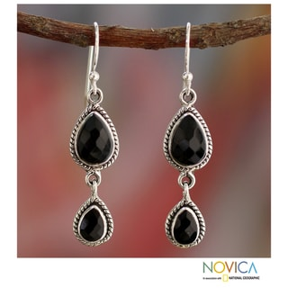 Sterling Silver 'Midnight Teardrops' Onyx Earrings (India)