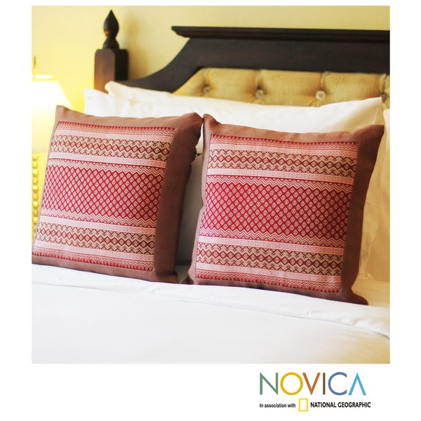 Set of 2 Cotton 'Royal Red' Cushion Covers (Thailand)