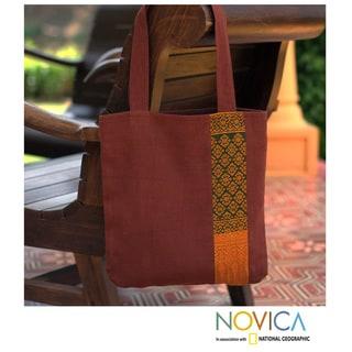 Cotton 'Saffron Lanna' Large Shoulder Bag (Thailand)