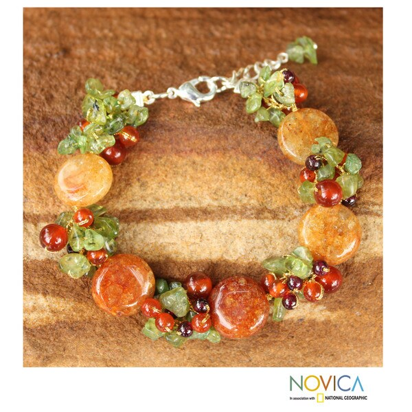 Orange Peonies Carnelian with Multicolor Gemstone Clusters Adjustable Lobster Claw Womens Fashion Beaded Bracelet (Thailand) 10364058