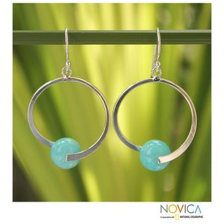 Sterling Silver 'Earth Circle' Amazonite Earrings (Thailand)