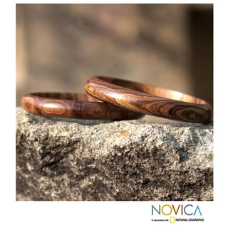 Set of 2 Hormigo Wood 'Eco Muse' Bangle Bracelets (Guatemala)