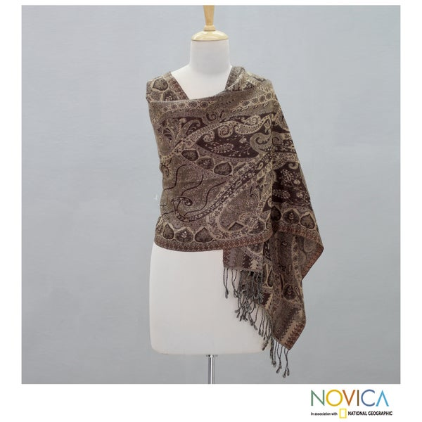 Wool 'Persian Brown Paisley' Shawl (India)