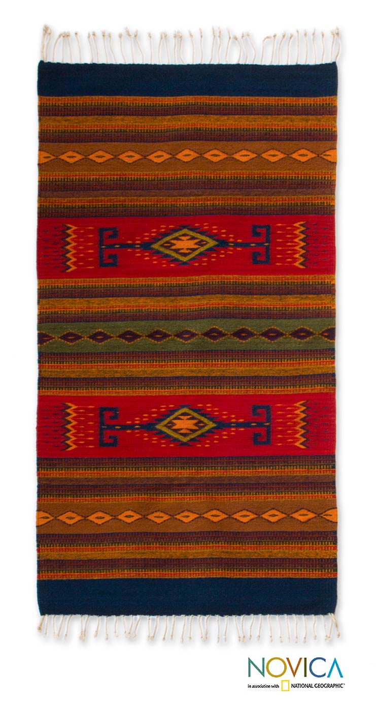 Handcrafted Wool 'Oaxaca Dawn' Zapotec Rug (2.6x5) (Mexico)