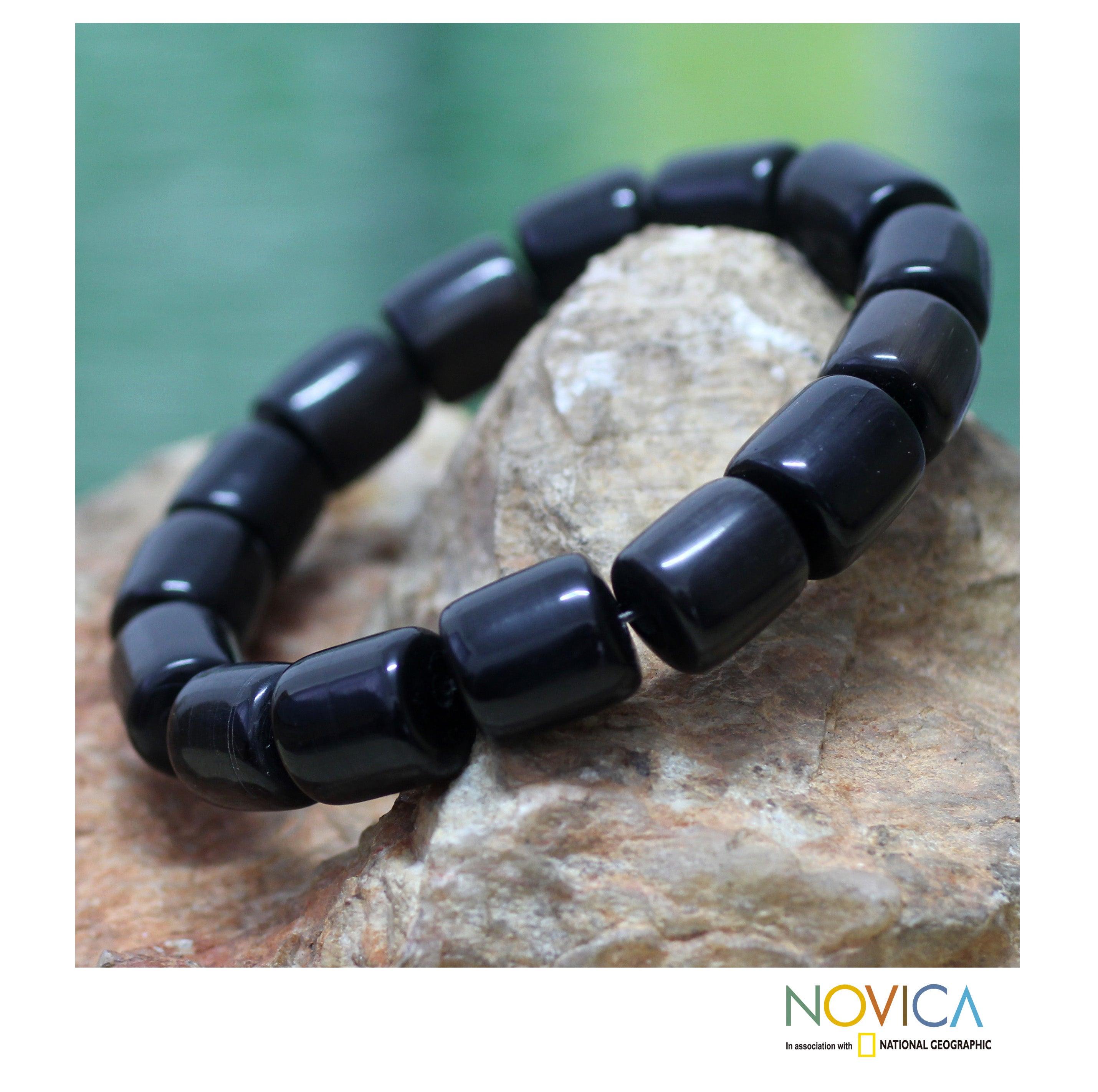 Handcrafted Bull Horn 'Korleki in Black' Bracelet (Ghana)
