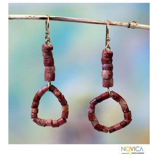 Handcrafted Bauxite 'African Unity' Earrings (Ghana)