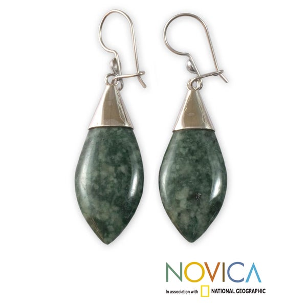 Sterling Silver 'Maya Lance of Afterlife' Jade Earrings (Guatemala)