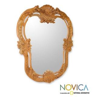 Cedar Wood 'Renaissance Roses' Mirror (Mexico)
