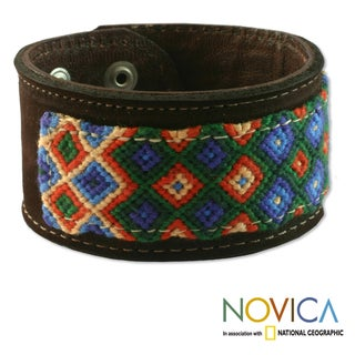 Handcrafted Leather and Cotton 'Maya Village' Bracelet (Guatemala)