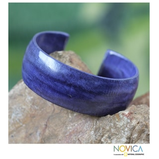 Leather 'Annula in Blue' Cuff Bracelet (Ghana)