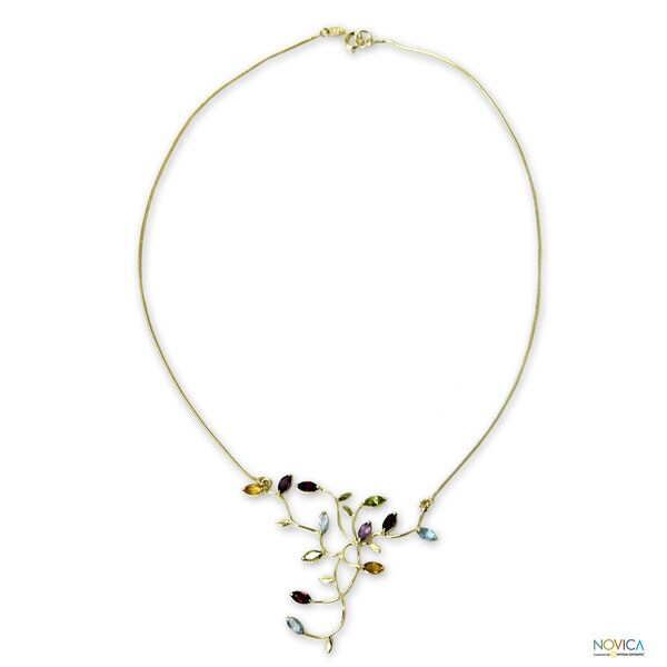 Gold Overlay 'Wildflowers' Multi-gemstone Necklace (Brazil)