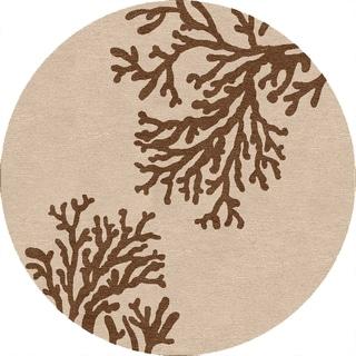 Hand-hooked Abstract C68 Beige/ Brown Indoor/ Outdoor Round Rug (8' x 8')