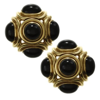 18k Yellow Gold Onyx Roberta Legnazzi Italian Clip-on Estate Earrings