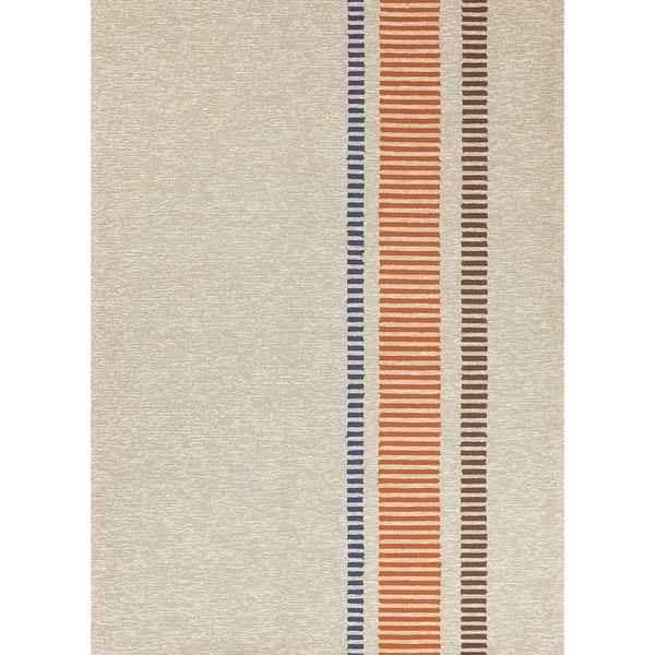 Stripe Beige/Brown Indoor/Outdoor Ru