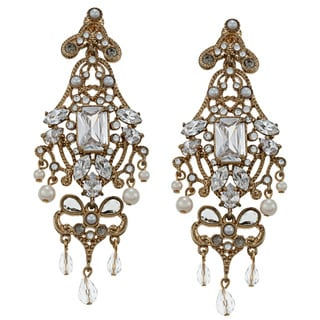 Carolee CZ, Faux Pearl Art Deco Drama Chandelier Earrings