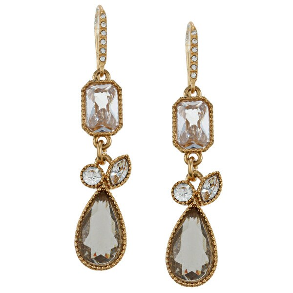 Carolee CZ Small Linear Art Deco Drop Earrings