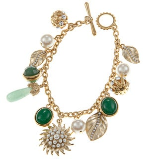 Carolee Leaf Flex Charm Bracelet