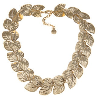 Carolee CZ 17-inch Leaf Collar Necklace